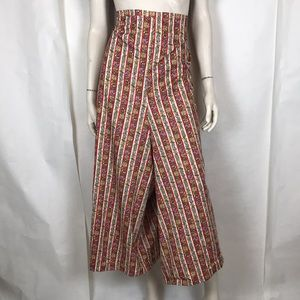 Vtg 70s red white striped geisha wide leg pants XL